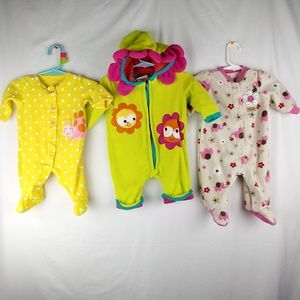 Other - Baby girl footed sleep n play outfit 3 set